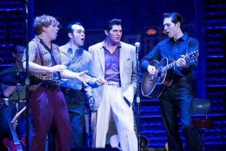 "Ben Goddard as Jerry Lee Lewis, James Barry as Carl Perkins, Cody Slaughter as Elvis Presley and David Elkins as Johnny Cash in the National Tour of ""Million Dollar Quartet."" (Photo by Paul Natkin)"