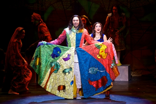 "Ace Young as Joseph and Diana DeGarmo as Narrator in ""Joseph and the Amazing Technicolor Dreamcoat."" Photography by Daniel A. Swalec."