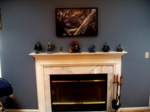Dark Knight Over Fireplace 'Knight Over Gotham' Alex Ross Various Batman memorabilia