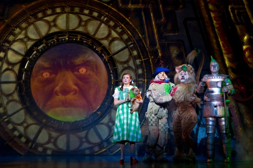"Danielle Wade as Dorothy, Jamie McKnight as Scarecrow, Lee MacDougall as Lion, Mike Jackson as Tin Man in ""The Wizard of Oz.""  Original Toronto Cast. Photo by Cylla Von Tiedemann"