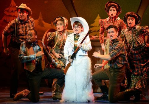 "Colton Maurer and the company of ""A Christmas Story."""