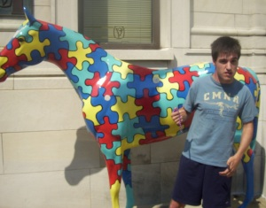 Andrew in early stages of meltdown next to the autism horse in downtown Louisville. Weirdly appropriate.